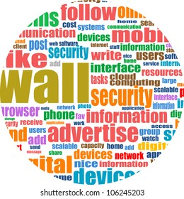 Social media abstract background with networking concept words. Raster
