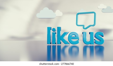 """Social media background with 3D """"like us"""" text reflecting on glossy floor, icons and space on the left side."""