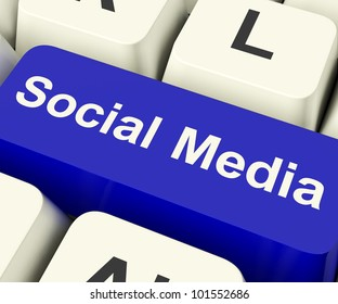 Social Media Blue Computer Key Showing Online Community