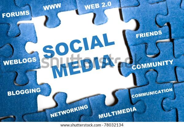 Social media blue puzzle pieces assembled
