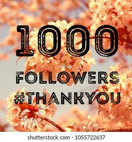 Social media celebration banner - 1000 followers. 1k online community fans.