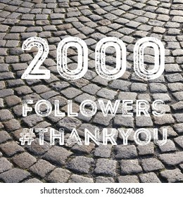 Social media celebration banner - 2000 followers. 2k online community fans.