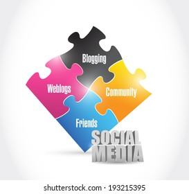 social media color puzzle illustration design over a white background