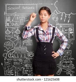 Social media concept, Asian girl writing something