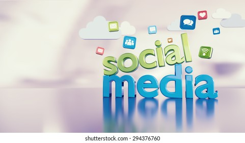 Social media concept background image with related icons and space for text on the left side.