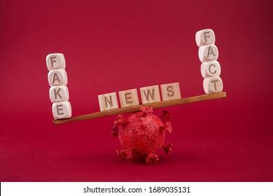 Konzept der sozialen Medien. Corona Virus Fake News Konzept. Skalierung auf rotem Hintergrund