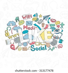 Social media concept with doodle decorative icons and like lettering  illustration