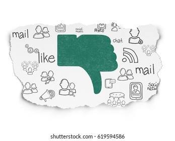 Social media concept: Painted green Thumb Down icon on Torn Paper background with  Hand Drawn Social Network Icons