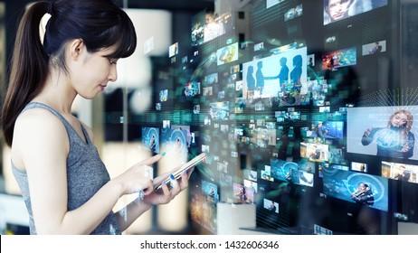 Social media concept. Streaming video.
