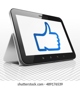 Social media concept: Tablet Computer with blue Thumb Up icon on display, 3D rendering