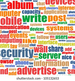 Social media concept in word tag cloud. internet background - raster