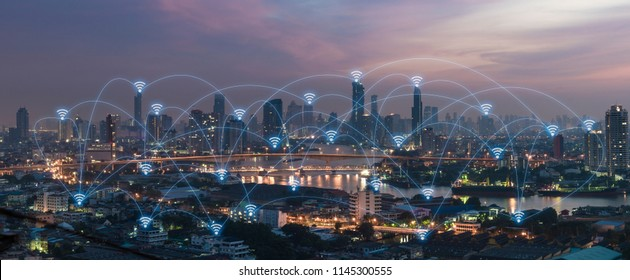 Social media connection by wireless telecommunication technology with cityscape background
