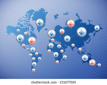 social media connections illustration design over a world map