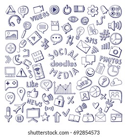 Social media hand drawn icons set. Computer and network doodle illustrations. Network media sketch icons, social media doodle