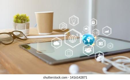 social media icons on screen digital tablet