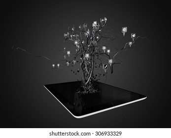 Social media icons set in tree shape on Modern black tablet pc, concept
