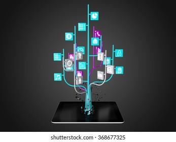 Social media icons set in tree shape on Modern black tablet pc, technology background