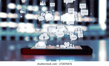 Social media illustration with modern smart phone and industrial buildings lights blurred in the background.