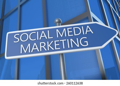 Social Media Marketing - illustration with street sign in front of office building.