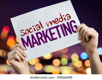 Social Media Marketing placard with night lights on background