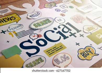 Social media and social network concept design. Concept for website and mobile banner, internet marketing, social media and networking, app and service, online communication, marketing material.