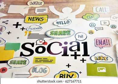 Social media and social network. Concept for website and mobile banner, internet marketing, social media and networking, app and service, online communication, marketing material.