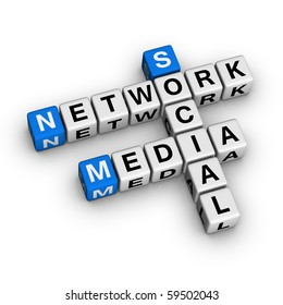 Social Media Network crossword puzzle. 3D illustration on white background