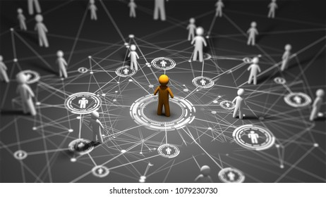 social media network icons structure, standing Out in Crowd.Concept of idea and innovation,3d render