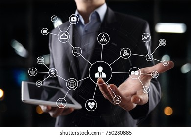 Social media network and marketing concept on virtual screen. Internet and business technology. SMM.