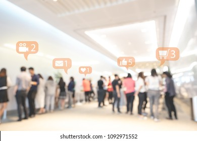 Social media or social network notification icons with abstract blurred event exhibition or business convention show, Big data and digital networking concept