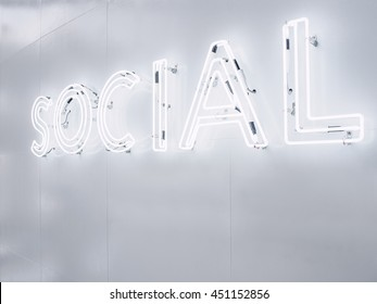 Social Media Type font Neon sign light Signage on wall Perspective