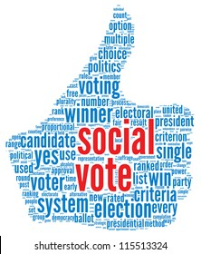 Social media vote concept in word tag cloud on white background
