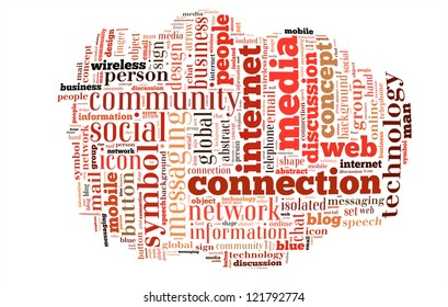 Social Media word clouds isolated in white background