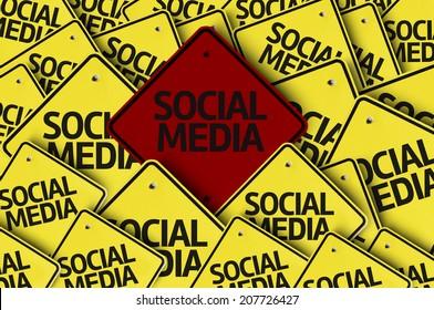 Social Media written on multiple road sign