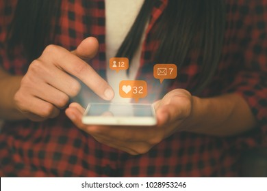 Social media,social network concept with smart phone.