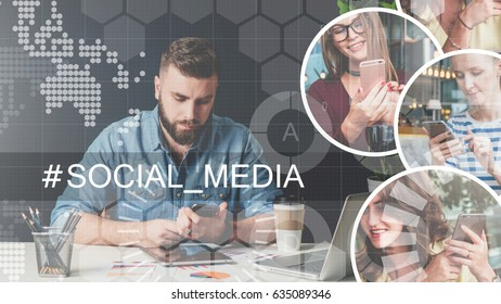 Social media.Young bearded businessman sits at table and uses smartphone.On desk is laptop. In the right part of screen there are round icons with the image of girls with cell phones. Man blogging.