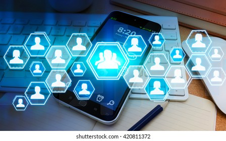 Social network blue avatar connected to each other in modern office