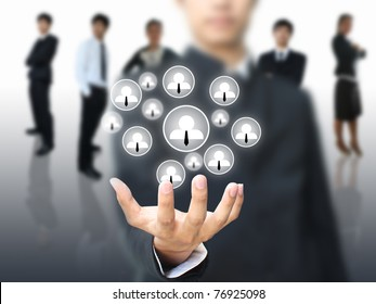Social network in business hand