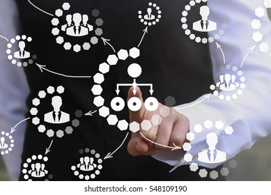 Social network business web concept. Businessman touched flow chart icon on virtual screen. Communication, human resources, management technology
