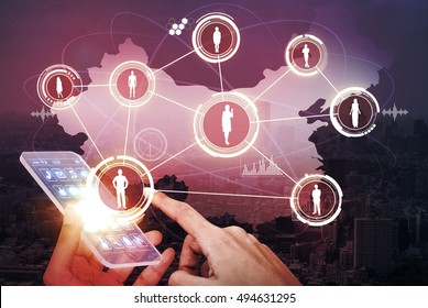 social network of china and transparent smart phone, abstract image visual