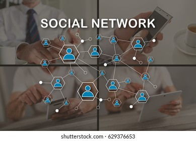 Social network concept illustrated by a picture on background