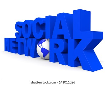 Social network concept on white background. 3D illustration.