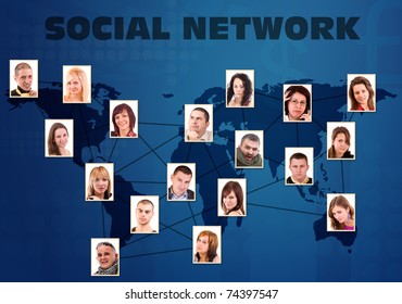 Social network concept with people photos in paper background