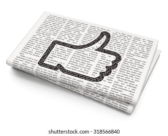 Social network concept: Pixelated black Thumb Up icon on Newspaper background