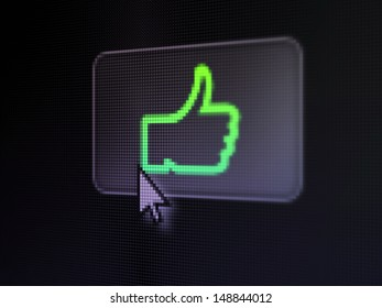 Social network concept: pixelated Like on button with Arrow cursor on digital computer screen, selected focus 3d render