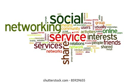 Social network concept in tag cloud on white