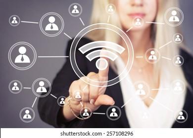 Social Network Interface business wifi button