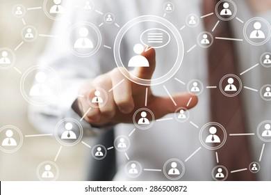 Social Network Interface businessman sign online