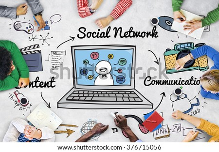 Social Network Online Sharing Connection Concept