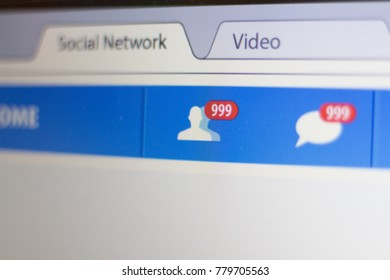 Social Network page with a large number of unread messages.